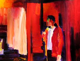 Mann mit roter Jacke (2008). Acryl auf festem Papier 60x80cm
