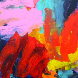 Abstrakt (2013) rot, bunt. Acryl auf Leinwand 100x100cm