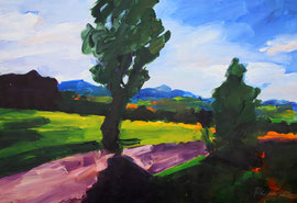 Landschaft mit Baum (2021). Acryl auf festem Papier 60x80 cm