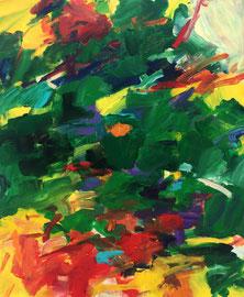 Abstrakt (2019) Gartenausschnitt. Acryl auf Leinwand 120x100cm