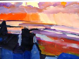 Sonnenuntergang (2013). Acryl auf festem Papier. 40x60cm
