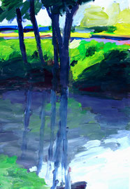 Bachlandschaft (2014). Acryl auf festem Papier 80x60cm