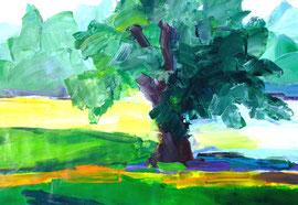 Baum (2013). Acryl auf festem Papier. 60x80cm