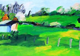 Landschaft mit Scheune (2014). Acryl auf fest Papier. 60x80cm