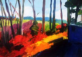 """Landschaf """"Licht und Schatten"""" Acryl auf festem Papier 60x80 cm"""