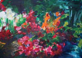 Wilder Garten (2020). Acryl auf festem Papier 60x80 cm