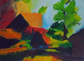 Landschaft (2005). Acryl auf festem Papier. 60x80 cm