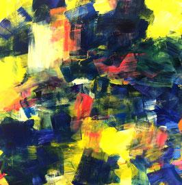 Abstrakt blau, gelb, rot (2019). Acryl auf Leinwand 100x100 cm
