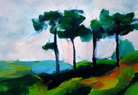 Landschaft (2005). Acryl auf festem Papier. 40x60 cm