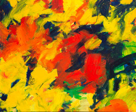 Abstrakt (2018) gelb, rot. Acryl auf Leinwand 100x 120 cm