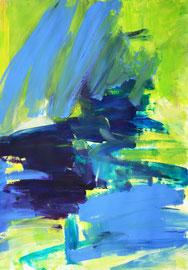 Diptichon1 grün, blau (2020). Acryl auf festem Papier 60x40 cm