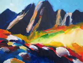 Berglandschaft (2006). Acryl auf festem Papier. 60x80 cm