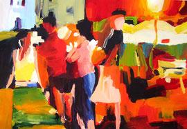 Straßenfest (2009). Acryl auf festem Papier 60x80cm