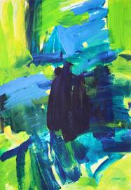 Diptichon2 grün, blau (2020). Acryl auf festem Papier 60x40 cm