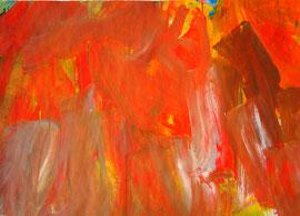 Abstrakt (2005) rot.Acryl auf festem Papier 60x80cm