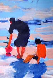 Personen am Strand (2007). Acryl auf festem Papier 80x60cm