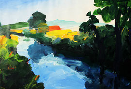 Landschaft (2017). Acryl auf festem Papier. 60x80 cm