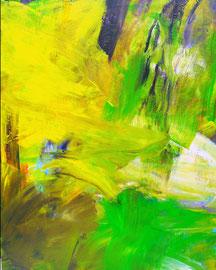 Abstrakt (2011) grün, gelb. Acryl auf Leinwand 100x80cm