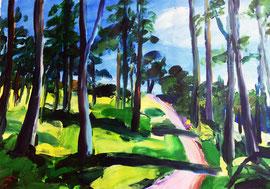 Waldweg 2 (2021). Acryl auf festem Papier 60x80 cm