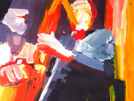 Saxophonspieler (2008). Acryl auf festem Papier 40x60cm