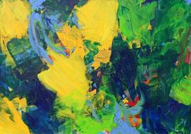 Abstrakt gelb, blau, grün (2021). Acryl auf Leinwand 100x70 cm