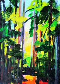 Waldweg (2021). Acryl auf festem Papier 80x60 cm