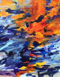 Abstrakt (2016) Sonnenspiegelung. Acryl auf Leinwand 120x100 cm