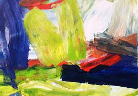 Abstrakt (2016) grün,blau, rot. Acryl auf festem Papier 60x80 cm