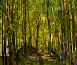 im Wald, 120 x 100 cm, auf Leinwand
