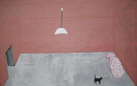 schwarze Katze und Lampe, 140 x 100 cm, auf Wollstoff
