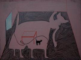 Katze mit Schatten, 120 x 80 cm, auf Leinwand