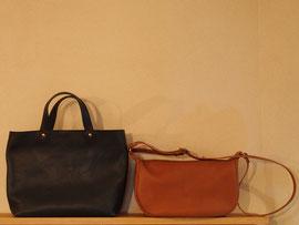 京都のバッグメーカー 革や帆布製のかばん・小物 レザーバッグ トートバッグ(ネイビー) ショルダーバッグ(ブランデー)