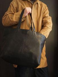 京都のバッグメーカー 革や帆布製のかばん・小物 レザーバッグ レザートート(ネロ)