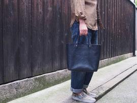 京都のバッグメーカー 革や帆布製のかばん・小物 レザーバッグ トートバッグ(ネイビー)