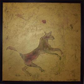 Jump, 50x50, Acryl/Gold, 2017