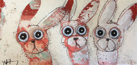 3 lapins 16''x8'' on canvas
