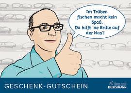 blickpunkte design: Gutscheinkarte als Geburtstagsgeschenk Brillen Buschmann Vorderseite