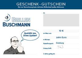 blickpunkte design: Gutscheinkarte als Geburtstagsgeschenk Brillen Buschmann Rückseite