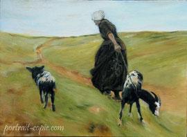 copie de tableau scène de genre peinture à l huile