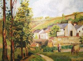 peinture copie de tableau  impressionniste d'après Pissaro