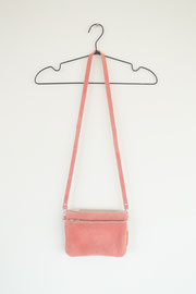 pink recycled leather bag