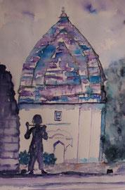 Tempel Indien, Aquarell, 30x45