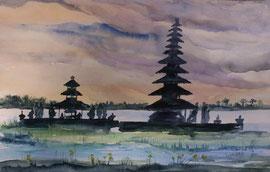 gemaltes Bild vom Bratansee, Aquarell, 30x45 cm
