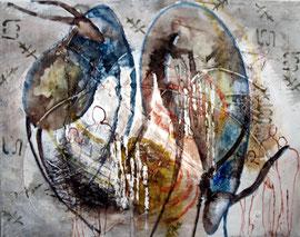inspiré de l'art rupestre, technique mixte sur toile