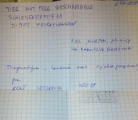 Rechnung TA Joanna Rozbicka 400 Zloty
