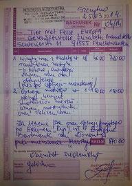 Rechnung TA Andrzej Sokocowski  870 Zloty = ca. 215 Euro