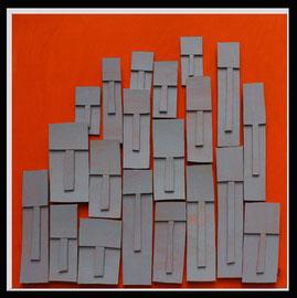 Témoins silencieux 14 - 2013 - Carton & acrylique - 120 x 120 cm