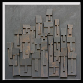 Témoins silencieux 13 - 2013 - Carton & acrylique - 120 x 120 cm
