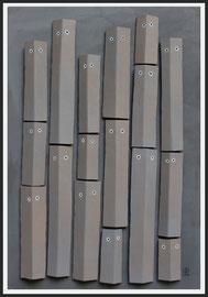 Témoins silencieux 18 - 2014 -  Technique mixte sur carton - 128 x 88 cm