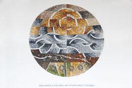 "Vita, 2004, mosaico in pietre naturali, diametro 160 cm, (Cappella ""La Bolada"", Santa Maria, Val Calanca - CH)"
